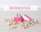 "8MM Wooden Beads - 50 or 100 Round Wooden Beads - 8MM Wooden Balls (5/16"") - Unfinished Wooden Beads - 8mm Wood Balls - DIY Wood Crafts"