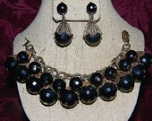 Vintage NAPIER Jet Black Faceted Lucite Cha Cha Charm BRACELET & Matching Clip EARRINGS Set ~ Women Mid Century Jewelry
