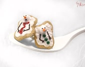 Food Jewelry Christmas Melting Snowman Cookie Ring, Festive Ring, Miniature Food, Kawaii Ring, Christmas Jewelry, Polymer Clay, Snowman Ring