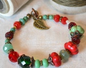 REDUCED Chunky Red Green Braceclet -  Rustic - Zen - Cowgirl Bracelet - Country - Jade Green - Red Magnesite - Tribal  - Southwestern