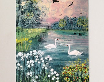Mounted print of English landscape with river and swans from an original acrylic painting 'Swan Lake' by Jo Grundy