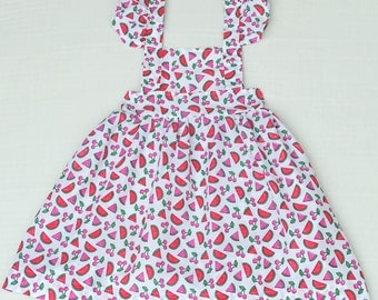One of a kind Sweet Girls Pinafore Apron Size 3T White Red Pink and Green Watermelons and Cherries