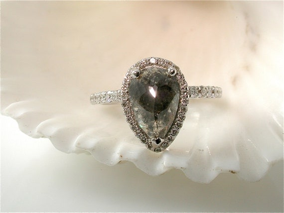 Grey Diamond Engagement Ring MADE TO ORDER Rustic by JewelLuxe