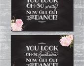 "Oh So Pretty & Handsome Bathroom Signs Set/2 5x7"" DIY Wedding Printable Signage - Peony Flower Chalkboard Design"