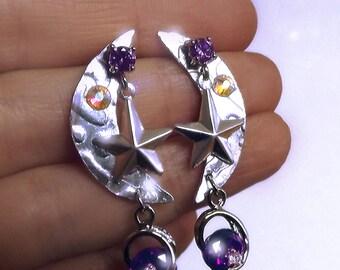 Gypsy earrings, moon earrings, amethyst earrings, boho earrings, bohemian jewelry, star earrings, organic earrings, celestial earrings, OOAK