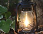 Electric Lantern Table Lamp, FLAT BLACK LANTERN, Electric Hurricane Lantern, Night Light, Rustic Lantern Light, Table Lamp,