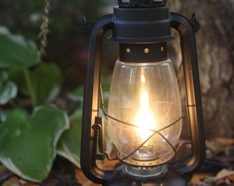 Electric Hurricane Lantern FLAT BLACK  Finish Table Lamp
