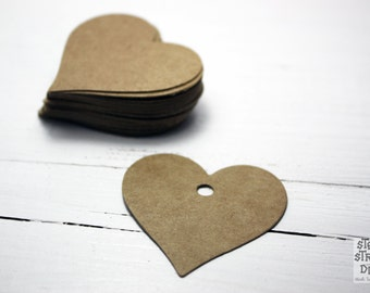 25 Brown Kraft Paper Scalloped Gift Tags, heart shape, 4.0 cm x 4.0 cm