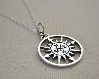 Silver Compass Necklace, Sterling Silver Compass Rose Pendant - Graduation Gift, Journey Necklace, Traveler Pendant, Customize, Personalize