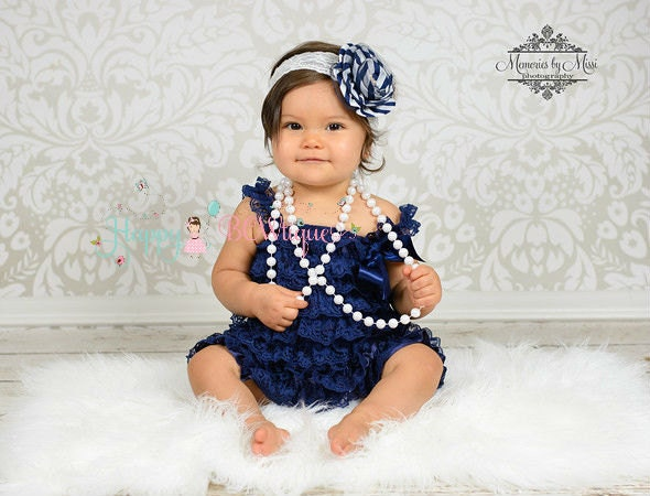 baby girls dress Navy Blue Vintage Lace Dress by HappyBOWtique