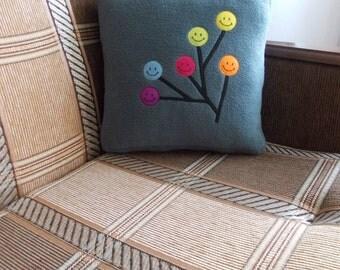 Tree branch pillow, branch pillow, cute home decor, colorful pillow, colorful circle, multicolor circle, grey pillow, decorative pillow