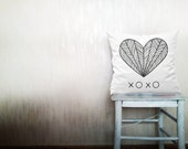 Xoxo typography throw pillows decorative throw pillows heart pillows love pillow outdoor pillows wedding cushion covers 18x18 inches pillows