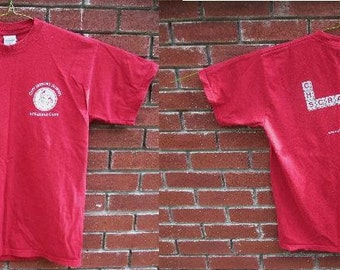 Vintage Red Graphic Tee Shirt w/ Scrabble Club Graphics- Front and Back Detail
