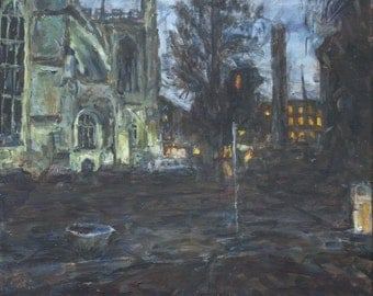 Bath Abbey Composition, Stop - A small to medium sized, original acrylic landscape painting on canvas