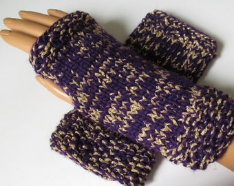 Purple and Gold Lamb's Wool and Metallic Fingerless Texting Mittens, Handwarmers, Hand Warmers, Gloves, Handmade
