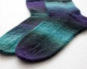 Purple blue socks, Knitted socks, Wool socks, Multicolored socks, Gradient ombre socks