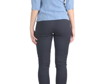 SALE - Blue Scoop Back Top, Blouse, Shirt, Tunic, Low Back, Scoop Neckline, Tencel, Boat Neck, Baby Blue, Sky, Bracelet Sleeves, Casual