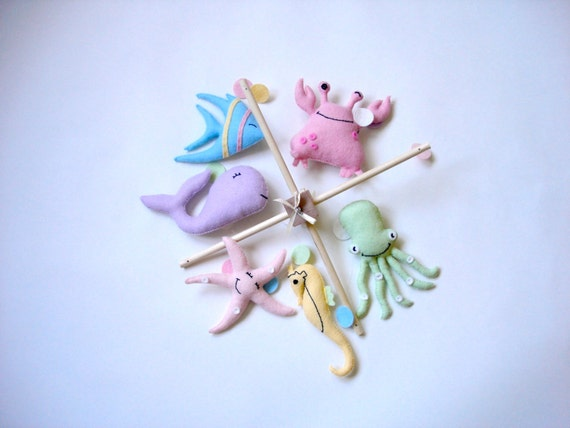 Items similar to sea creatures sea mobile baby mobile for Sea animal baby mobile