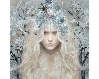 Snowflake queen, winter goddess, photomontage, digital print, modern art, winter, snow, fantasy portrait, digital art, fine art, home decor