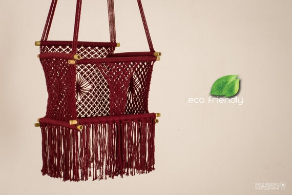 ECO Friendly Macrame Baby Swing Chair for Infant to Child in