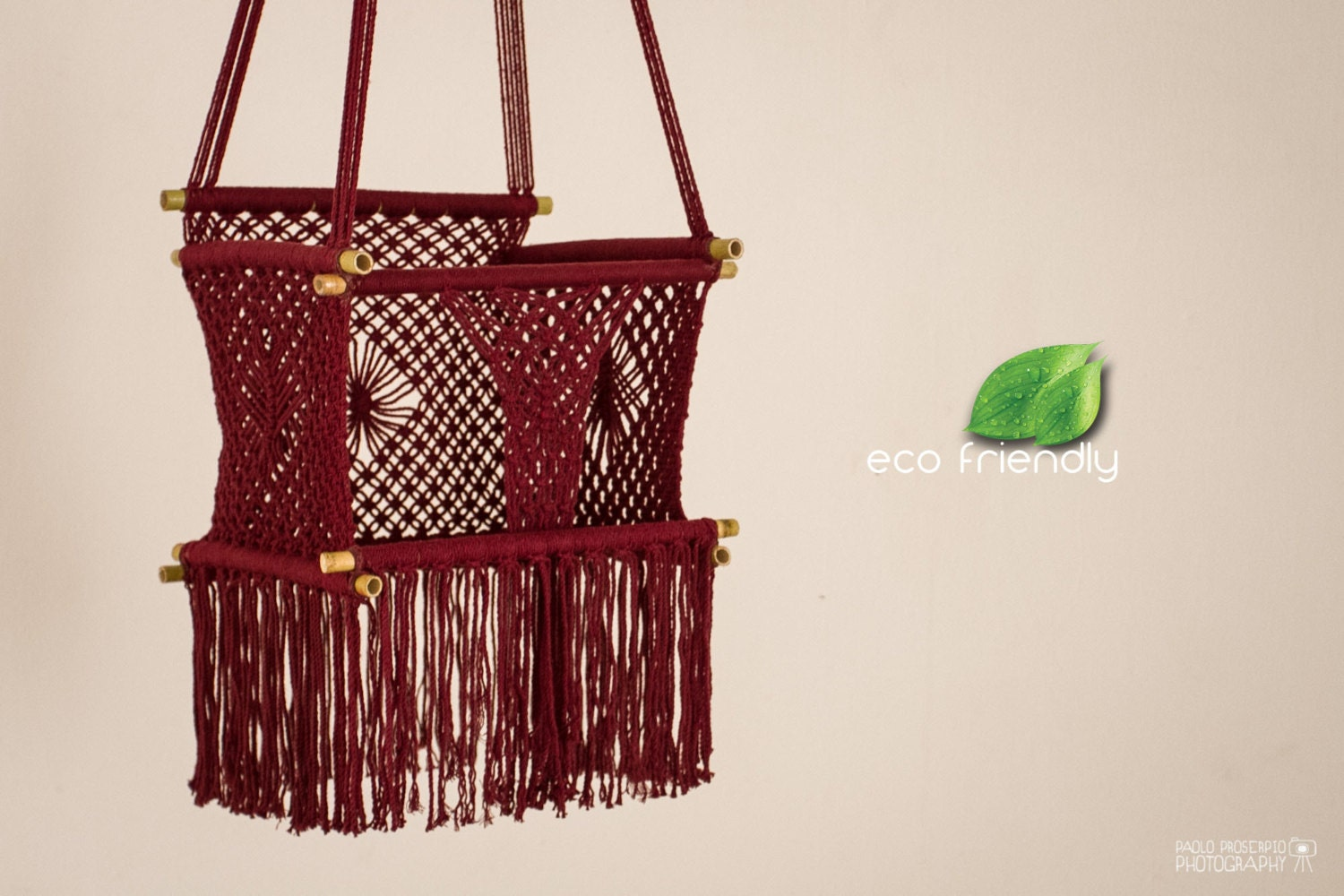 Eco friendly macrame baby swing chair for infant to child in for Macrame swing chair