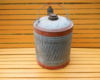LARGE Galvanized Metal Gasoline Can.Large Gas Storage Can with Metal Handle. Industrial Salvage.