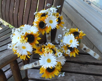 Rustic Wedding Bouquets Sunflower And Daisies 4 Bridesmaid Groomsmen Country