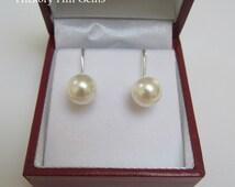 Cream pearl clip ons, GIFT BOX, ivory pearl clip earrings, pearl clip-on earrings Swarovski Elements Cream pearl, clip on earring, SILVER pl