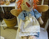 Annie Raggedy Angel Doll, Stufffed Rag Quilted Wing Doll, Orange Hair, Stitched Face, Handmade
