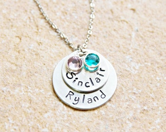 Two Charms, Hand Stamped Jewelry, Custom Stacked Pendant, Birth Stone Necklace