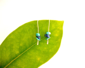 Sterling Silver, Turquoise and Lapis Lazuli earrings, modern blue earrings