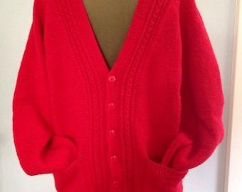 Red wool cardigan | Etsy