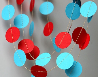 Aqua red garland - Party decorations - Circus garland -  Paper garland - Birthday decorations - Nursery Decor - Circles garland, KC-1012