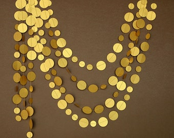 Gold wedding garland, Gold garland, gold party decor, Paper garland, Birthday Decor, Wedding decoration,Circle paper garland, PCG-5308