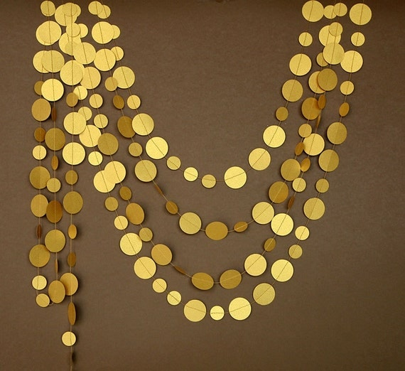 Gold wedding garland party decor paper