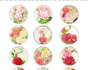 "Vintage floral circles / digital collage sheet / printable round tags / cupcake toppers / roses, flowers /  2"" and 1.5"" diameter"
