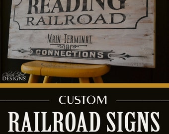 Railroad Sign - Train Art - Customize the Railroad Name - Travel Decor - Travel Theme Room