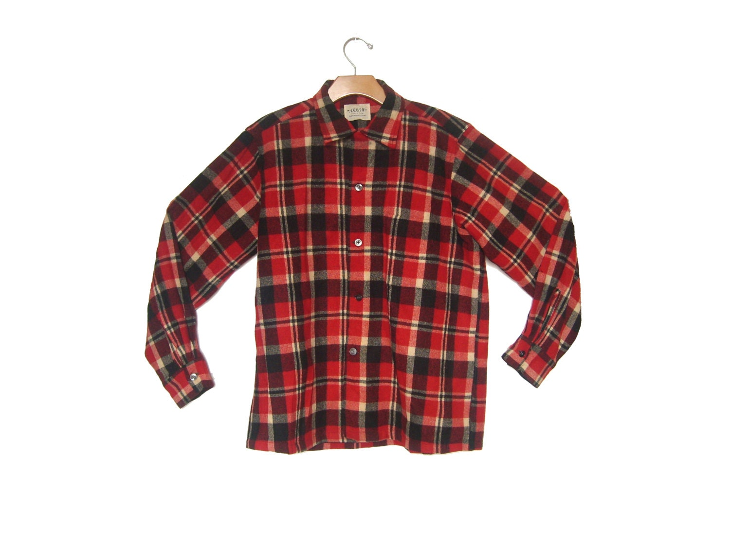 Vintage Wool Shirt Plaid Red Black Arrow Men 39 S Medium