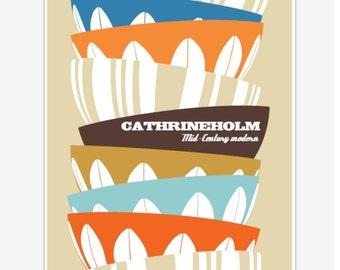Kitchen Decor, Retro kitchen Art, Kitchen Utensil Art, Wall Art, Cathrineholm, Gift idea