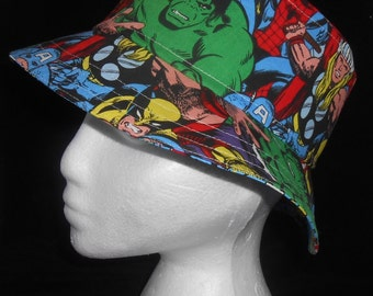 Adult's Fully Reversible Sun Hat / Bucket Hat - Marvel Super Heroes /  Blue Smash Bang Pow! - Also Available in Children's Sizes