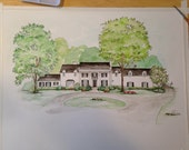 Custom House Portrait - Made to Order - Large Watercolor Portrait - White Traditional Historical Home