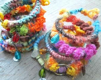 Bracelet Grab Bag - Surprise Bag - 3 Bracelets - Hippie Stacking Bracelets - Arm Party - Fiber Bracelets
