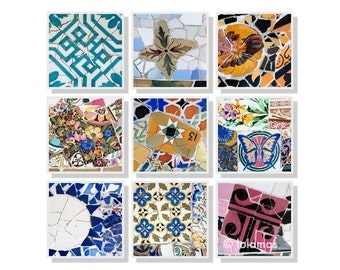 Spanish tiles Gaudi Set of 9 prints, SAVE 25%, Wall Decor, Wall art, Barcelona, Fine Art Photography