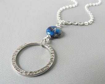 Silver Glasses Lanyard with Gemstone - Eyeglass Necklace Holder - Silver Lanyard - Eyeglasses Holder - Cordino Occhiali - Blue Glasses Chain