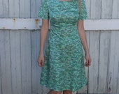 1960s / 60s / Handmade Vintage Mod Green and Periwinkle Floral Dress with Bow Detail