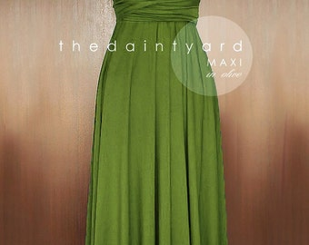 MAXI Olive Infinity Dress Bridesmaid Dress Convertible Dress Multiway Dress Wrap Dress Green Full Length Prom Dress Maxi Dress Twist Dress
