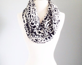 Black & White Tribal Print Lightweight Summer Infinity Scarf - Handmade from Rayon - For Her, Spring Fashion, Mother's Day