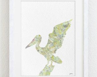 Great White Pelican Watercolor Print - 5x7 Reproduction Archival Print - Painting, Pelican Art Print - Wall Decor Art Home Decor Housewares