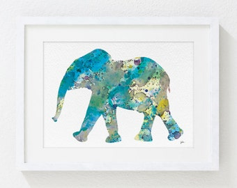 Blue Elephant Art, Watercolor Print - 5x7 Archival Print - Baby Elephant Painting, Calf, Elephant Art - Wall Decor Art Home Decor Housewares