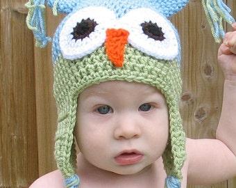 Newborn Boy Hat, Crochet Blue and Green Owl Hat, Newborn Owl Hat, Kids Owl Hat, Toddler Owl Hat, Newborn Photo Prop, Baby Shower Gift
